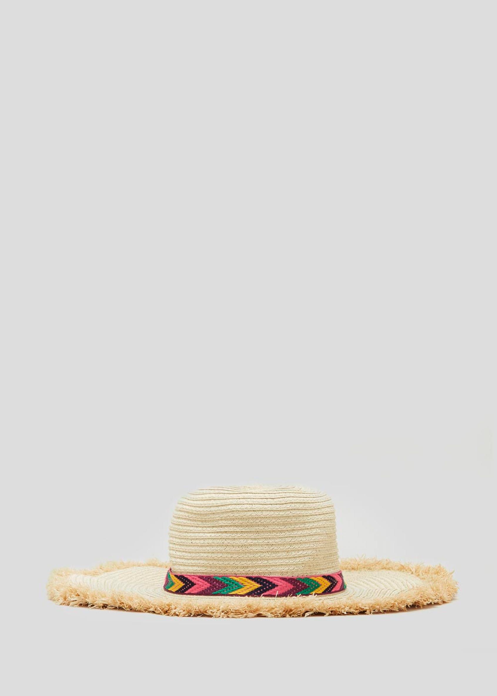 3a40550e Chevron Wide Brim Straw Hat Matalan Ibiza Spain Spanish Mexico Mexican  Summer Style fun shade wide