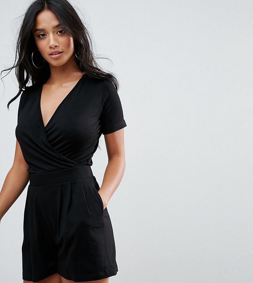 f182de344789 Click for more details. Worldwide shipping. ASOS PETITE Wrap Front Jersey  Playsuit with Short Sleeve - Black  Petite playsuit by ASOS PETITE