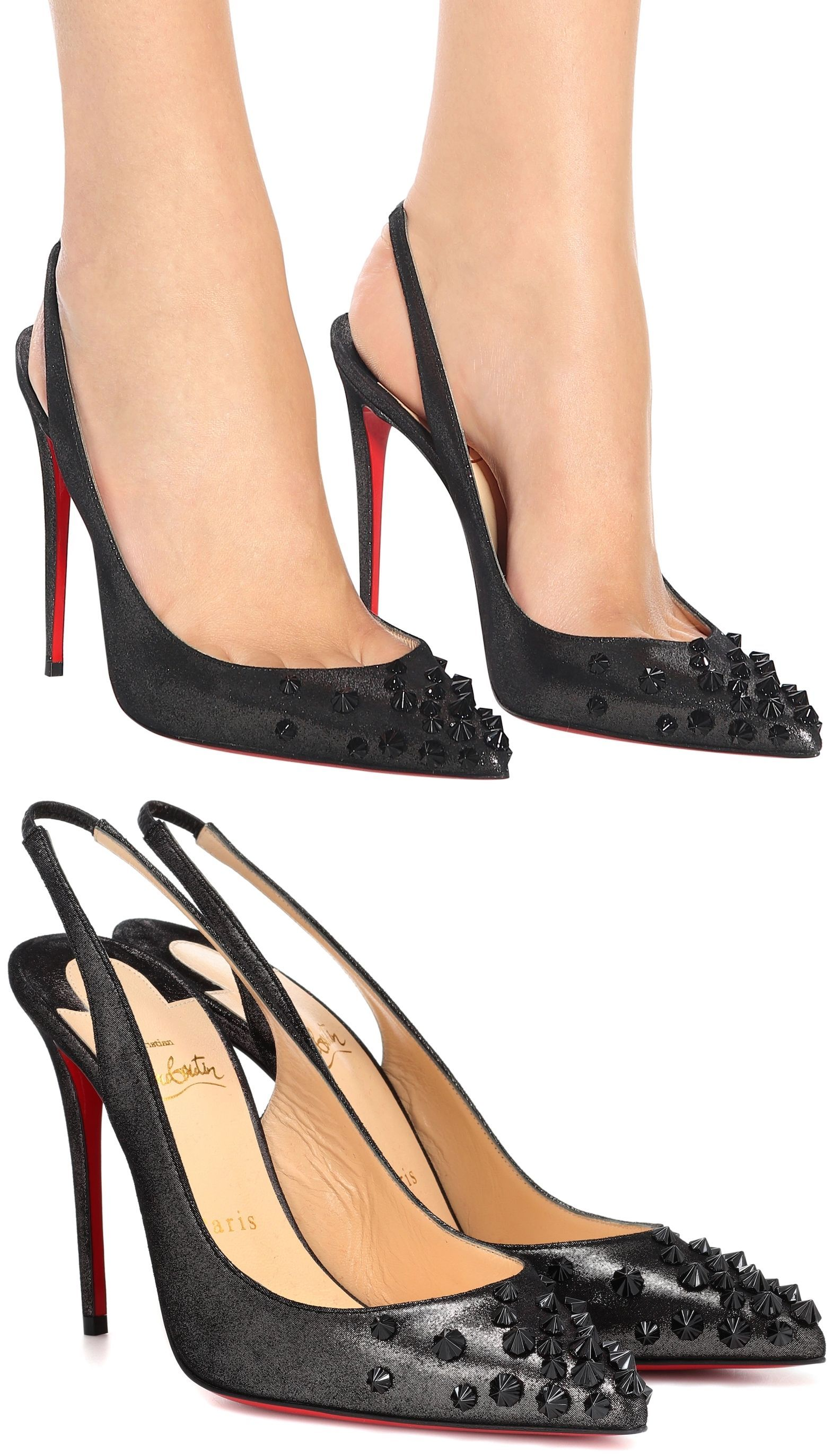 4015c2fc25 This update to the Drama Sling pumps from Christian Louboutin is not for  the faint of heart. It features a black metallic suede lamé upper, a  dramatic 100mm ...