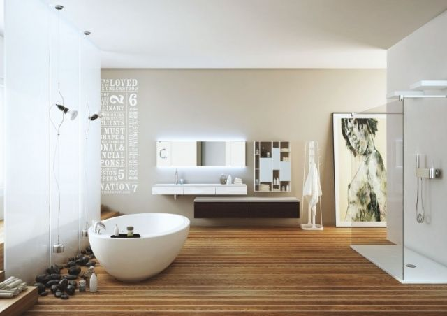 design salle bains zen sol en bois et dco en galets