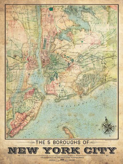Vintage Map Of New York City 5 Borough New York City Vintage Remixed Map   Vintage, Vintage map