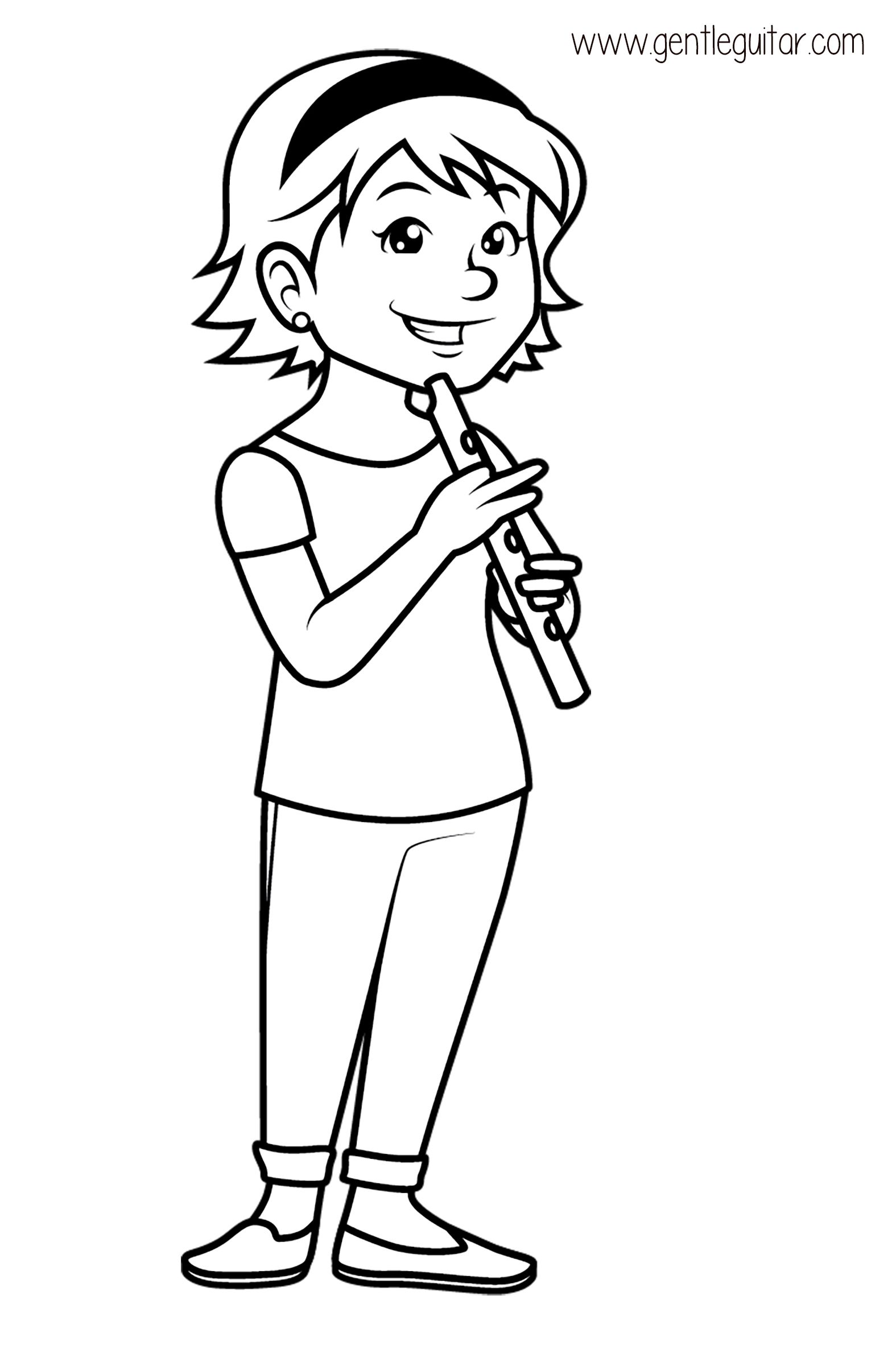 Coloring A Girl Playing A Flute Coloring Prepares