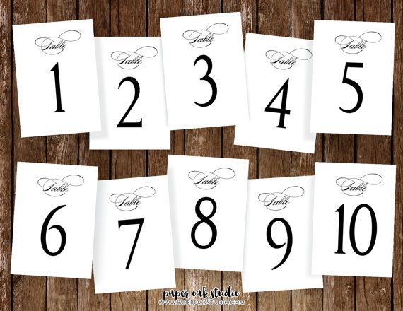 Sensational Printable Wedding Table Numbers 1 10 5X7 Classic Elegant Download Free Architecture Designs Rallybritishbridgeorg