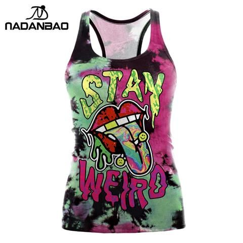 496db94efb2ef NADANBAO Sexy Summer Women Tank Top Halloween Mouth Party Top Designs  Cropped Feminino Print O-neck Camisole Festival Tops