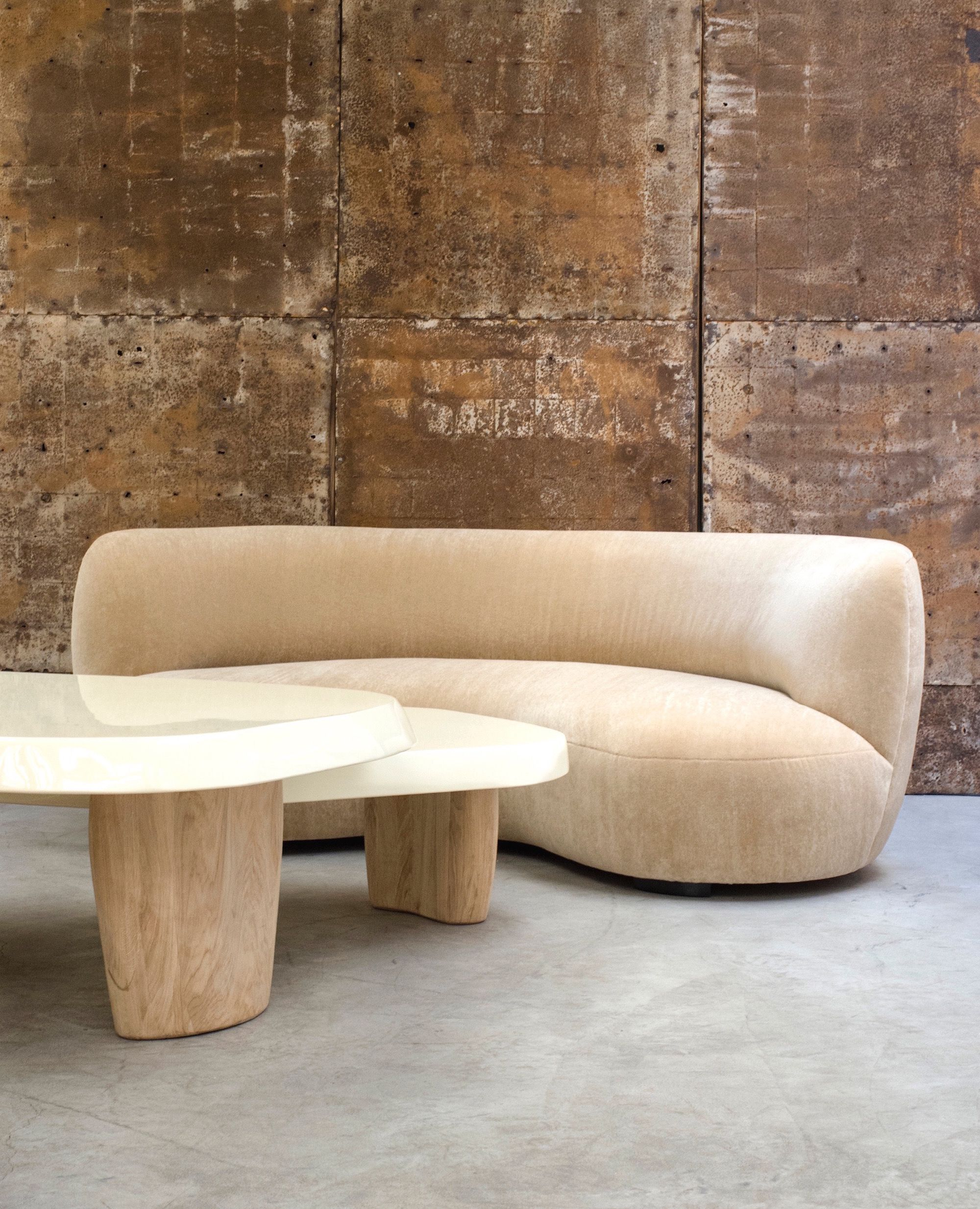 Contemporary Armless Sofa With Curved Lines Minimalist Sofa Interior Design Curved Sofa