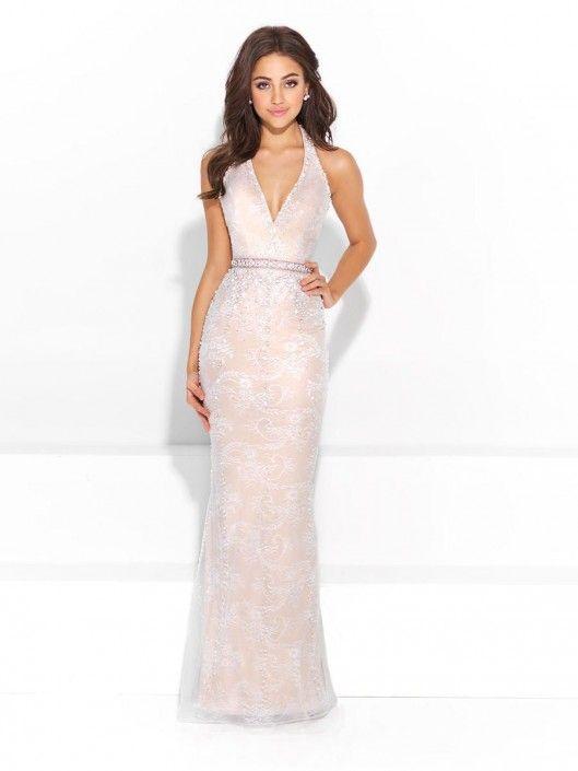 Size 2 Ivory-Nude Madison James 17-208 Deep V Halter Prom Dress | In ...
