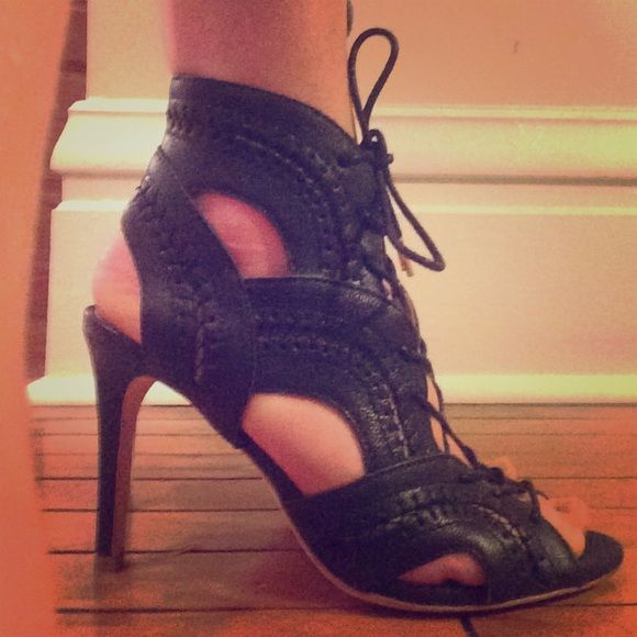 joie size 36 black lace up heel lightly worn and super comfortable! Joie Shoes Heels