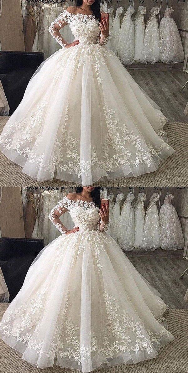 Ls0597 White Off The Shoulder Strapless Applique Long Sleeves Lace Tulle Wedding Gowns On Storenvy In 2020 Ball Gown Wedding Dress Ball Gowns Wedding Bridal Dresses