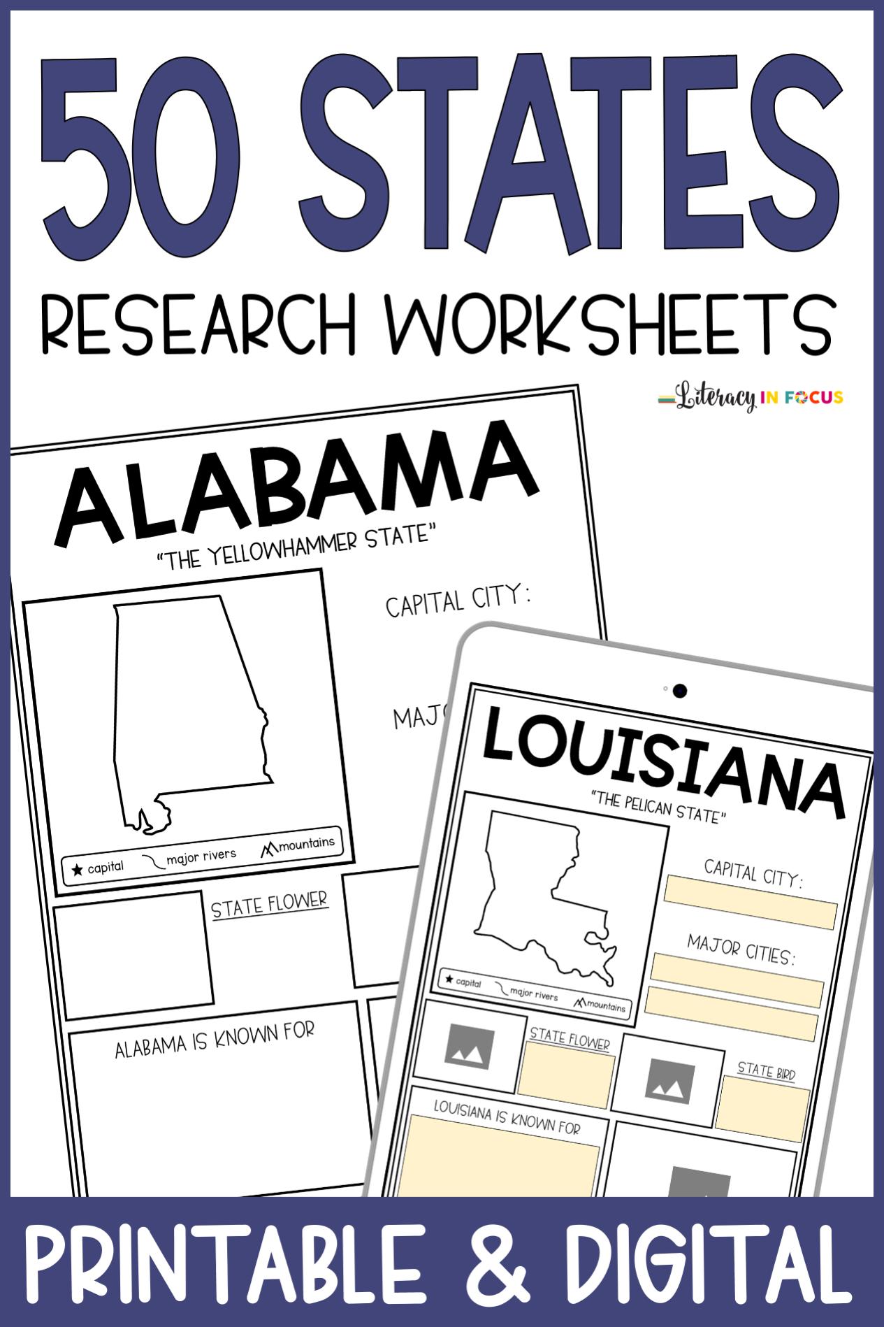 50 States Worksheets
