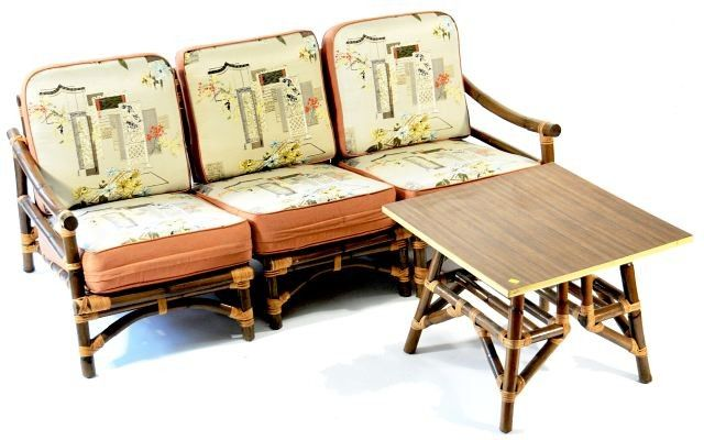 Superior Vintage Bamboo Furniture | 117: A Vintage Rattan Sofa, Chair And Two Tables.