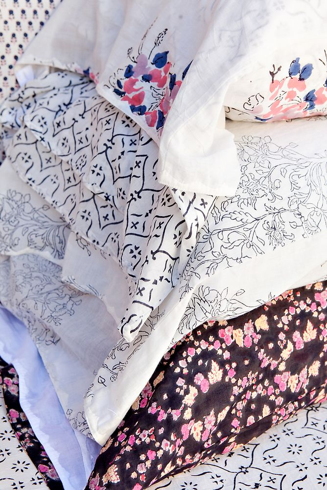 Kerry Cassill - Luxury Indian printed Bedding and Apparel — Paisley Flower Pillowcase