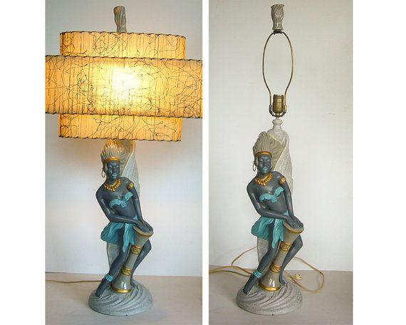 Sale1950 S Tribal Woman W Bongo Continental Art Co Etsy Vintage Lamps Vintage Table Lamp Lamps For Sale