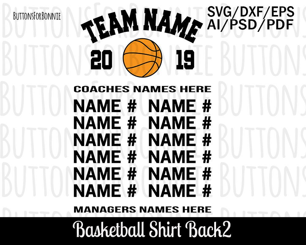 Basketball Team Svg Template Back Of Shirt Svg Team Members Etsy Personal Cards Templates T Shirt Printing Company