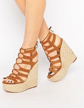 9d57a49dc78d River Island - Chaussures effet cage à talons hauts compensés ...
