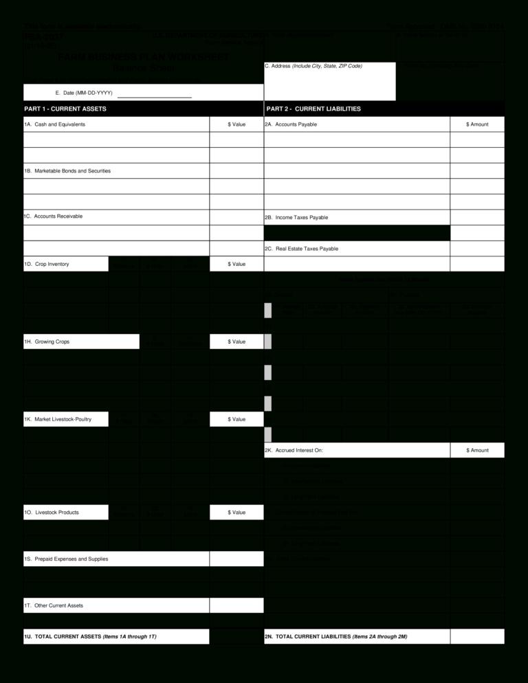 Farm Business Plan Worksheet Balancesheet Templates At