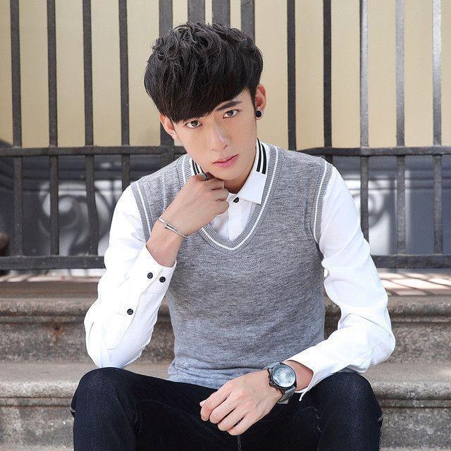Fashion color blocked v-neck mens vest sleeveless slim fit knitted ...