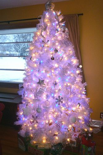 my white christmas tree with blue lights - Christmas Tree With Blue Lights