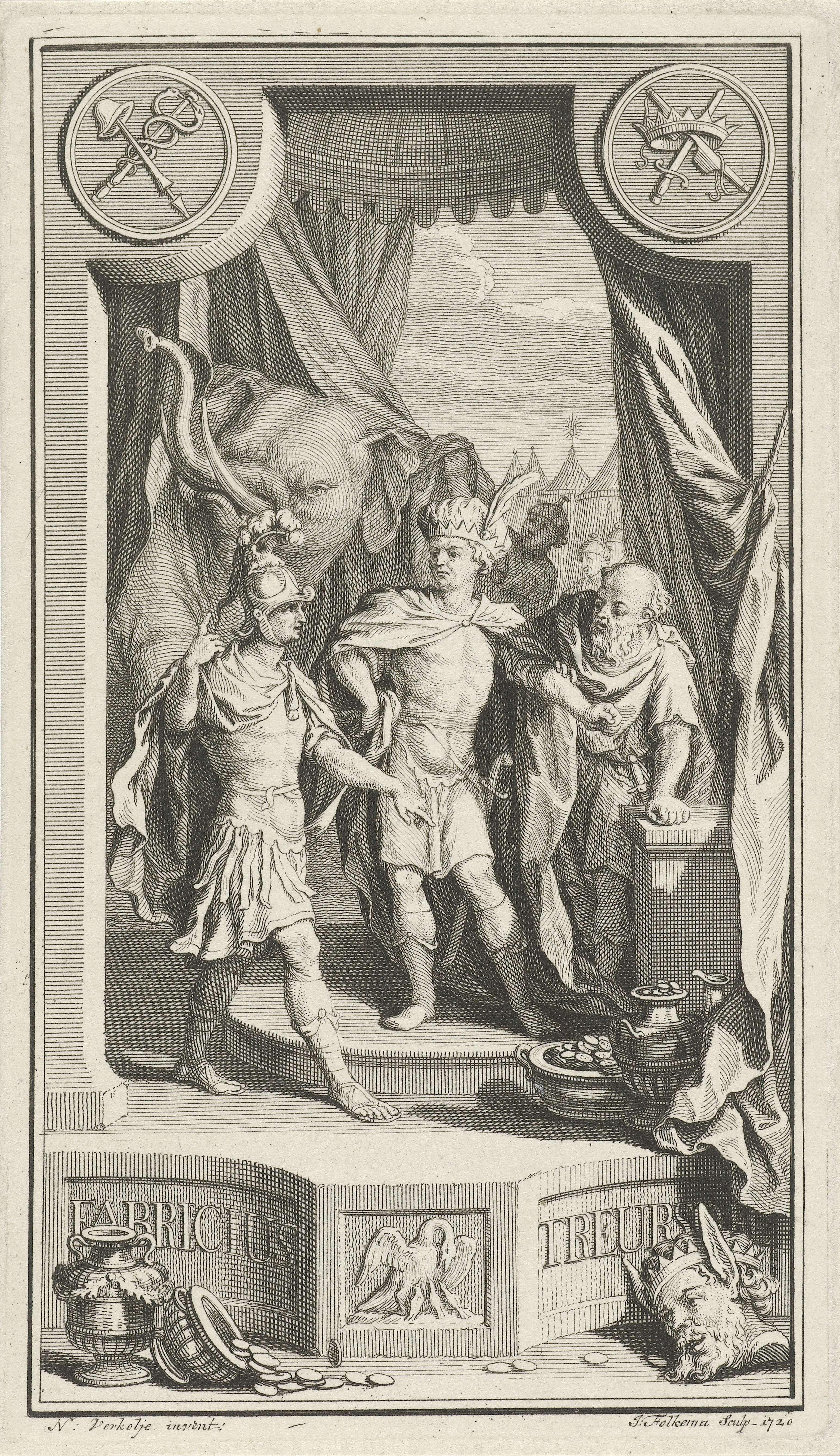 Jacob Folkema | Pyrrhus toont Gaius Fabricius Luscinus een olifant, Jacob Folkema, 1720 | De Romeinse consul Gaius Fabritius Luscinus bezoekt voor vredesonderhandelingen Koning Pyrrhus, met wie de Romeinen in oorlog waren. Pyrrhus staat centraal in het midden naast een oude man in toga en kijkt geërgerd naar Gaius Fabritius Luscinus. Phyrrus doet er alles aan om hem om te kopen, maar ook van de olifant die de tent binnen komt lopen is de Romeinse consul niet onder de indruk.