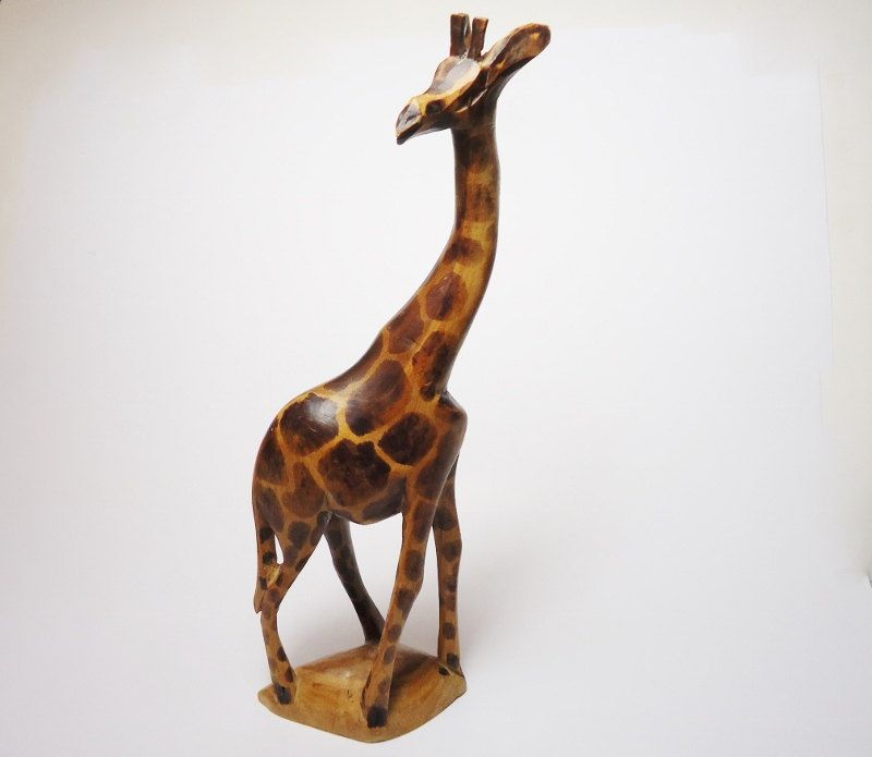 Vintage African Hand Carved Giraffe Statue African Table Art Giraffe Sculpture Kenya Carved Giraffe Art Statue Woo Giraffe Art Giraffes Statues Art Table
