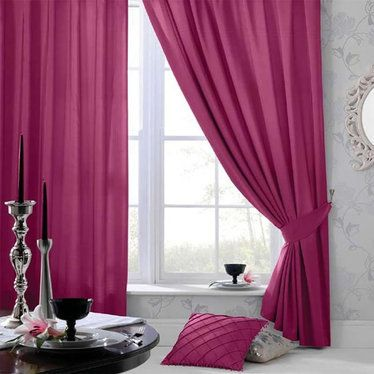Cerise Pink Faux Silk Curtains 54s