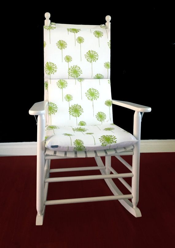 rocking chair cushion cover chartreuse green dandelion by