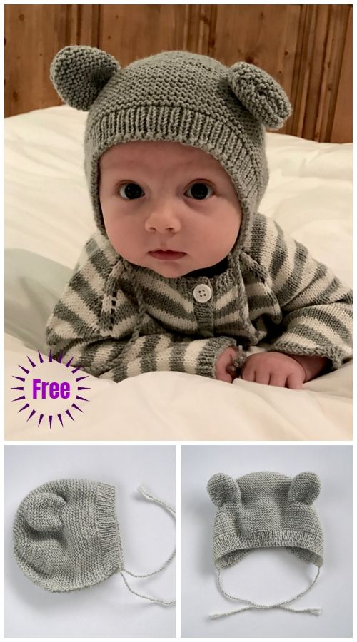 Knit Bearly Bear Bonnet Hat Free Knitting Pattern #bonnets