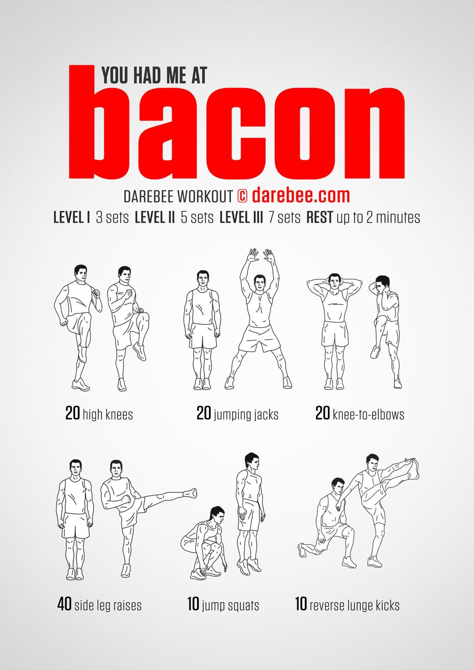 You Had Me At Bacon Cardio Workout At Home Darebee Workout