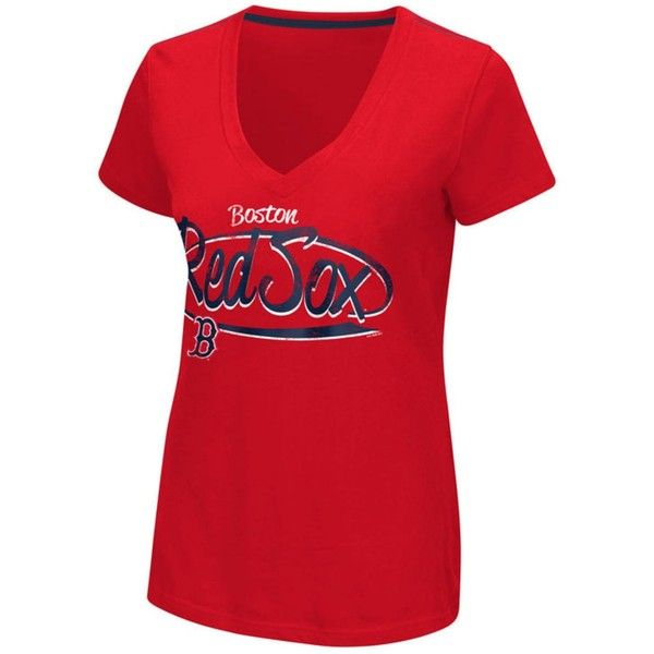 G3 Sports Women's Boston Red Sox Away Game T-Shirt ($20) ❤ liked on Polyvore featuring tops, t-shirts, red, shirt top, mlb shirts, boston red sox shirts, tee-shirt and red top