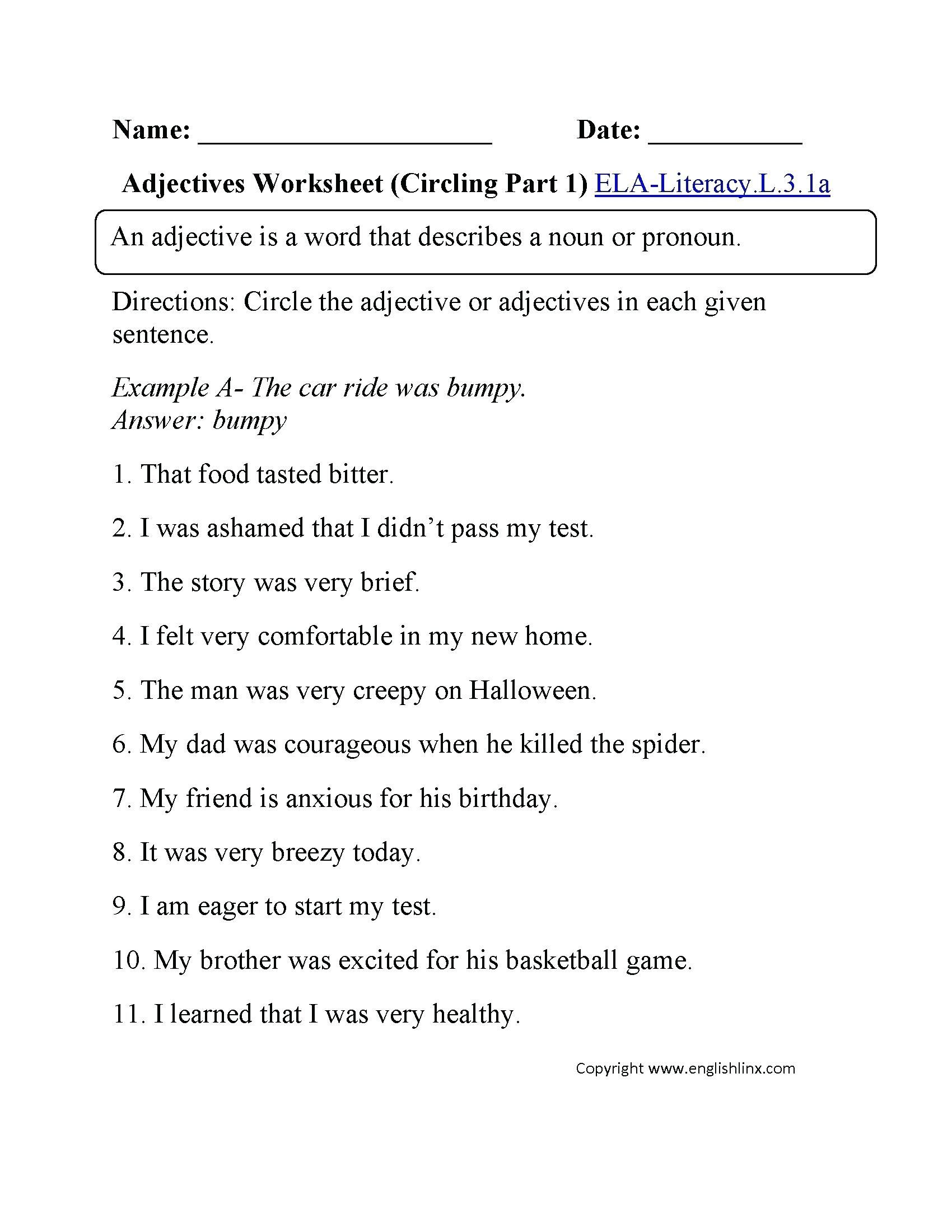 Adverb Worksheets 3rd Grade To Printable