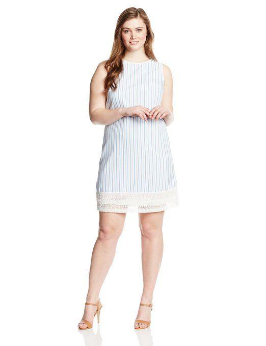 Preppy Plus Size Seersucker Dress With Lace Trim Plus Size Prep