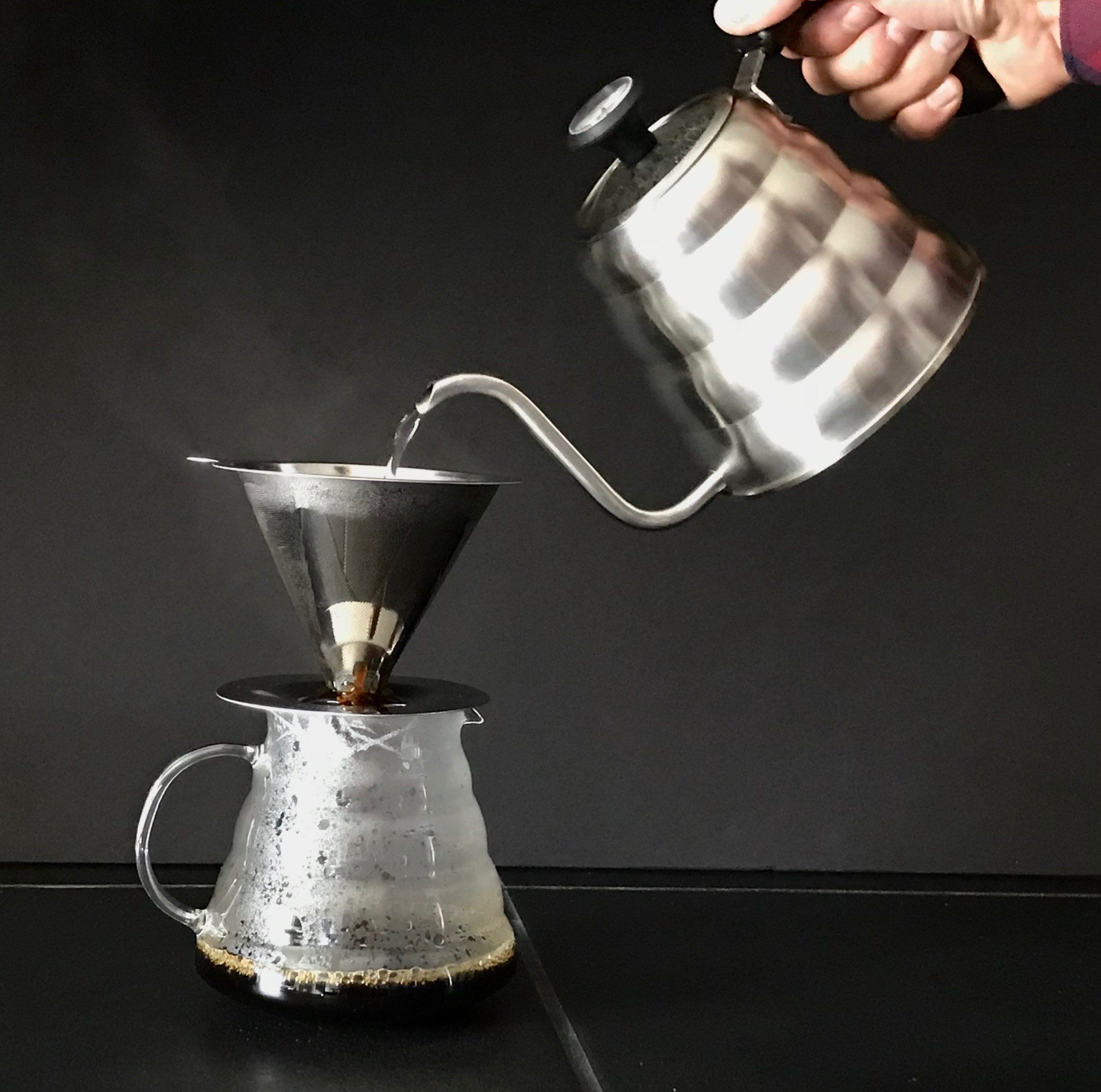 Stainless steel pour over coffee dripper by olâuac blue slow drip