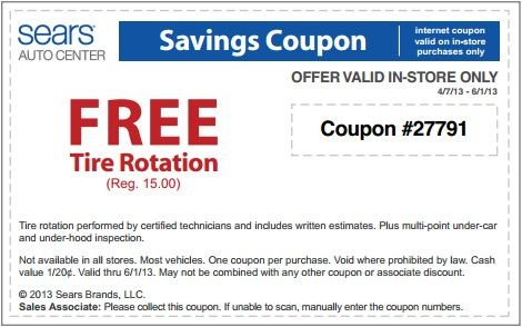 Tire Rotation Coupon >> Sears Tire Rotation Coupon Freebies Printable Coupons Coupons