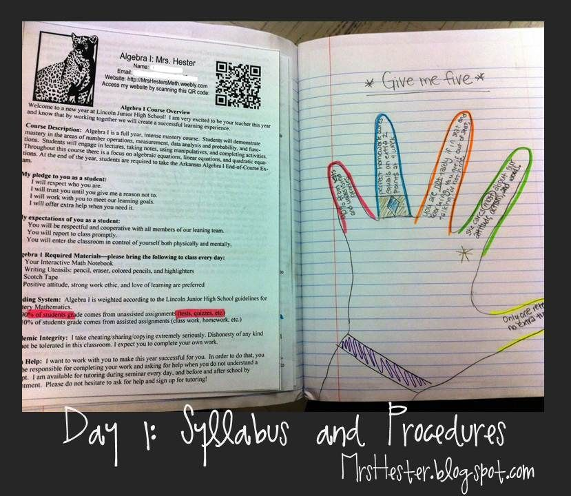 Set-Up: Mrs  Hester's Classroom : Interactive Notebooks: Day 1- I