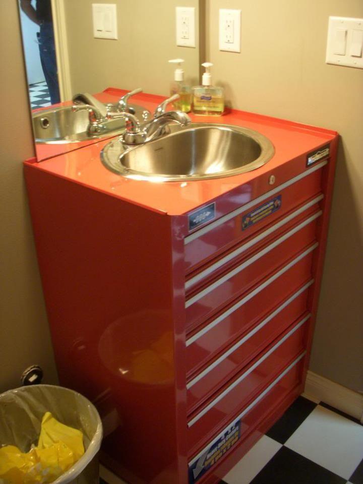 Metal Tool Box Turned Sink Man Cave Garage Bathroom
