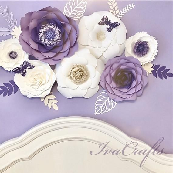 Large Paper Flower Arrangement, Purple Paper Flowers Wall Decor, Nursery Name Sign Flowers, Wedding Flower Wall #largepaperflowers