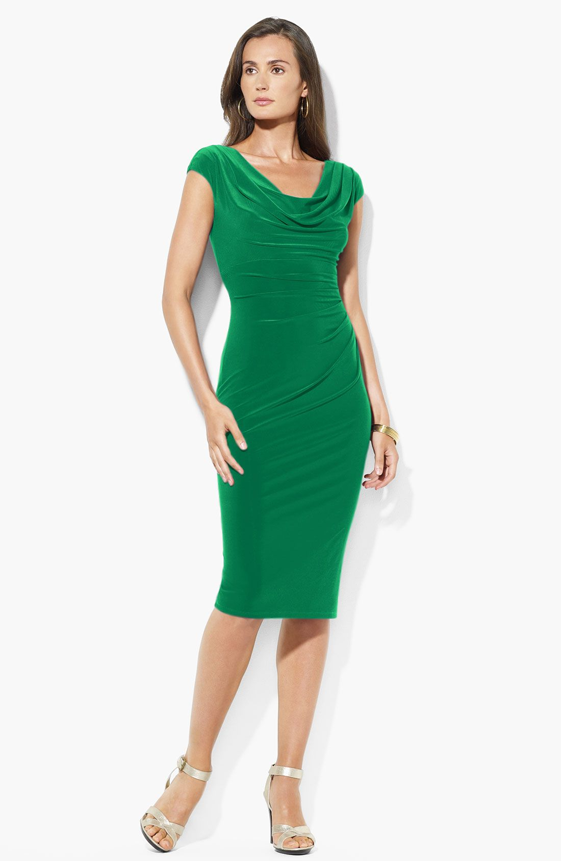 Lauren by Ralph Lauren Green Cowl Neck Jersey Sheath Dress Koktejlové Šaty d8bf09b01a