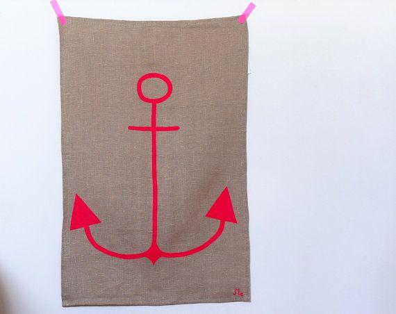 Anchor Tea Towel in neon pink on linen - Linen dishcloth neon pink anchor via Etsy