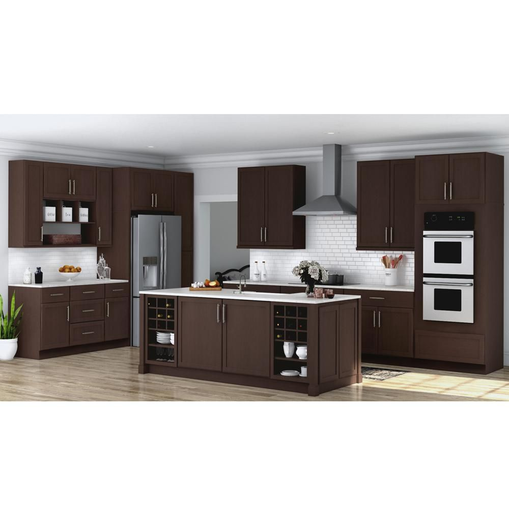 Hampton Bay Shaker Assembled 36x34 5x24 In Base Kitchen Cabinet With Ball Bearing Drawer Glides In Java Kb36 Sjm The Home Depot Kitchen Cabinets Kitchen Cabinets Home Depot Brown Kitchen Cabinets