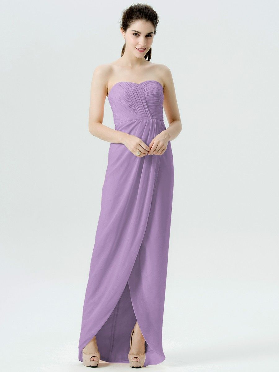 Strapless highlow chiffon dress plus and petite sizes available