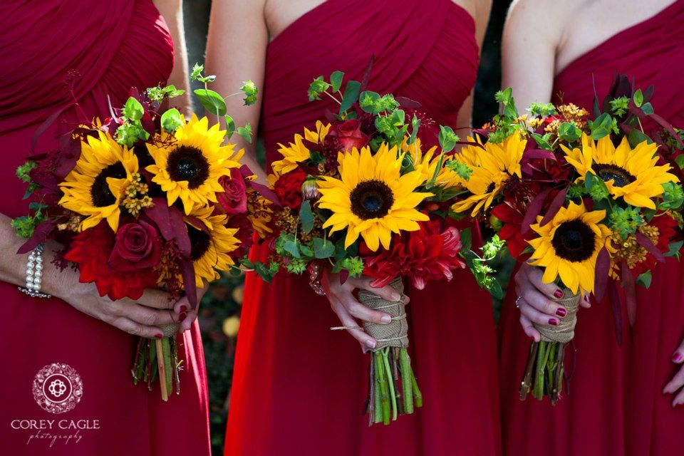 Sunflowers fall wedding bouquets design by for Sunflower dresses for wedding
