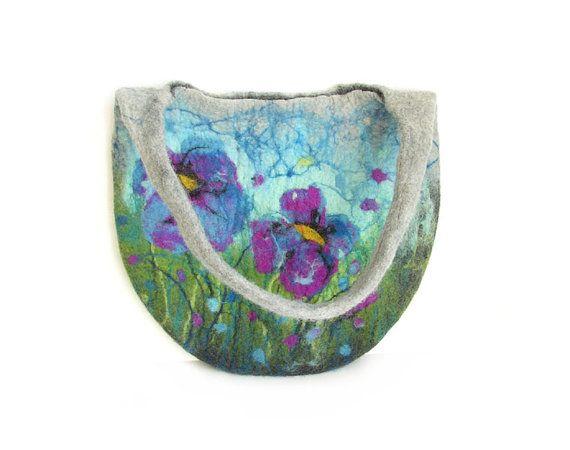 Felted bag felt bag floral felt handbag wool bag blue puple green grey flower flowers spring bag boho OOAK