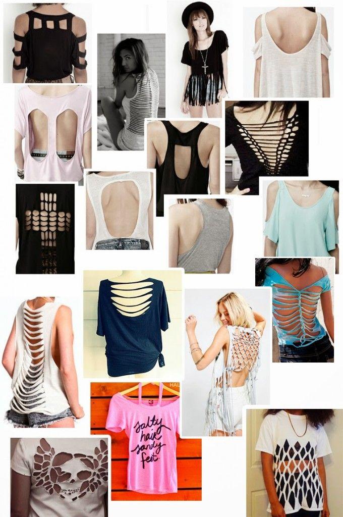 Diferentes tipos de cortes para customizar camisetas.  85aeb25f7aa3d