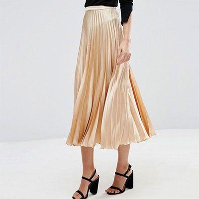 9ebd0139df54 ASOS midi skirt - metallic pleated midi skirt, golden pleated midi skirt,  metallic pleated skirt, golden pleated skirt, metallic midi skirt, ...