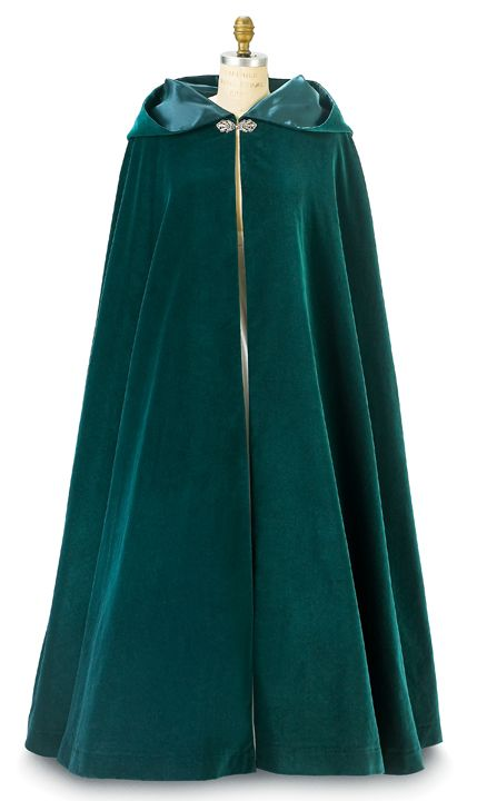 f25aae5f72 Green Velvet Morgana Long Cloak with Hood
