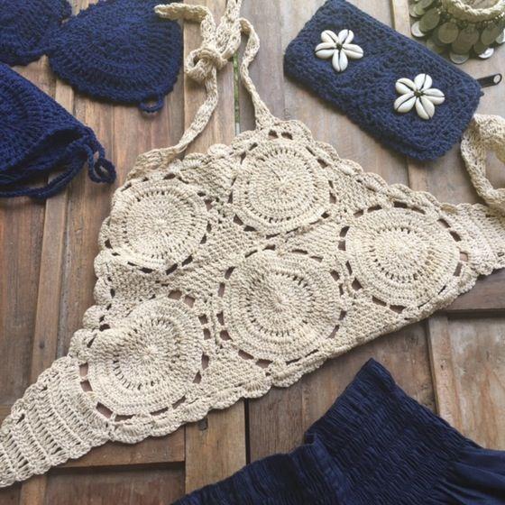 Imagem de Mimi amor triângulo superior crochet totalmente forrado ...