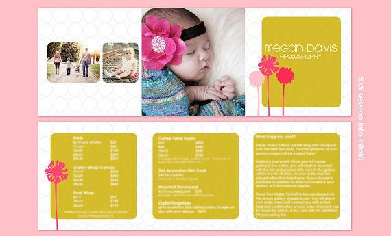 Pop Blooms 5x5 Trifold Marketing Brochure Price by HoneysuckleArt