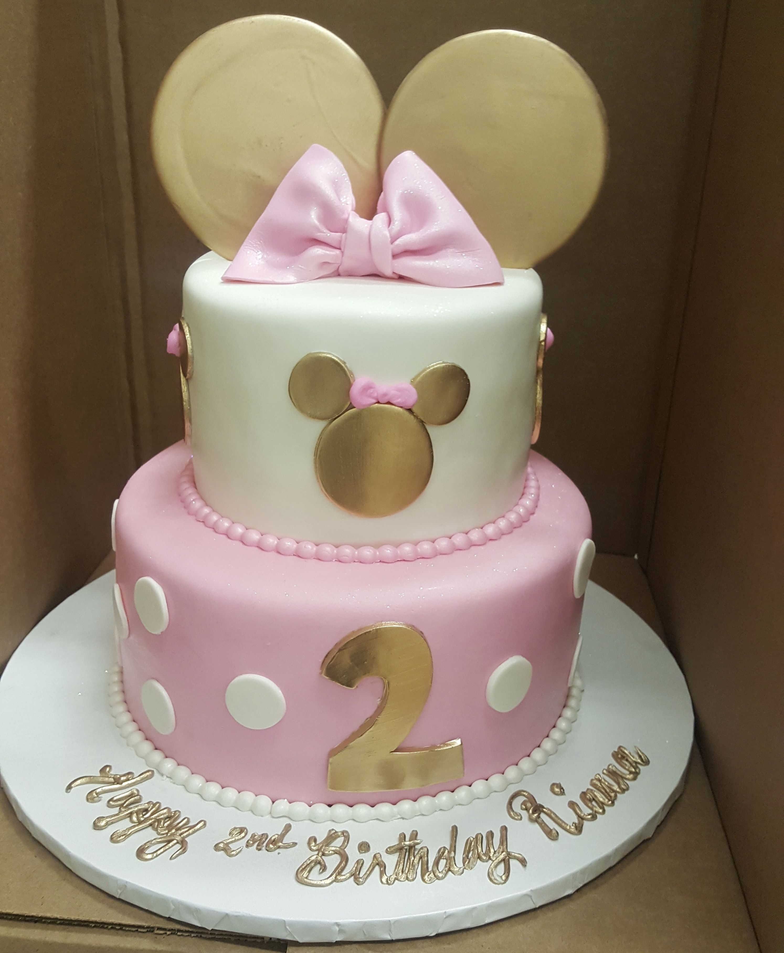 Calumet Bakery Gold And Pink Minnie Mouse Two Tier Fondant Cake Birthday Cakes