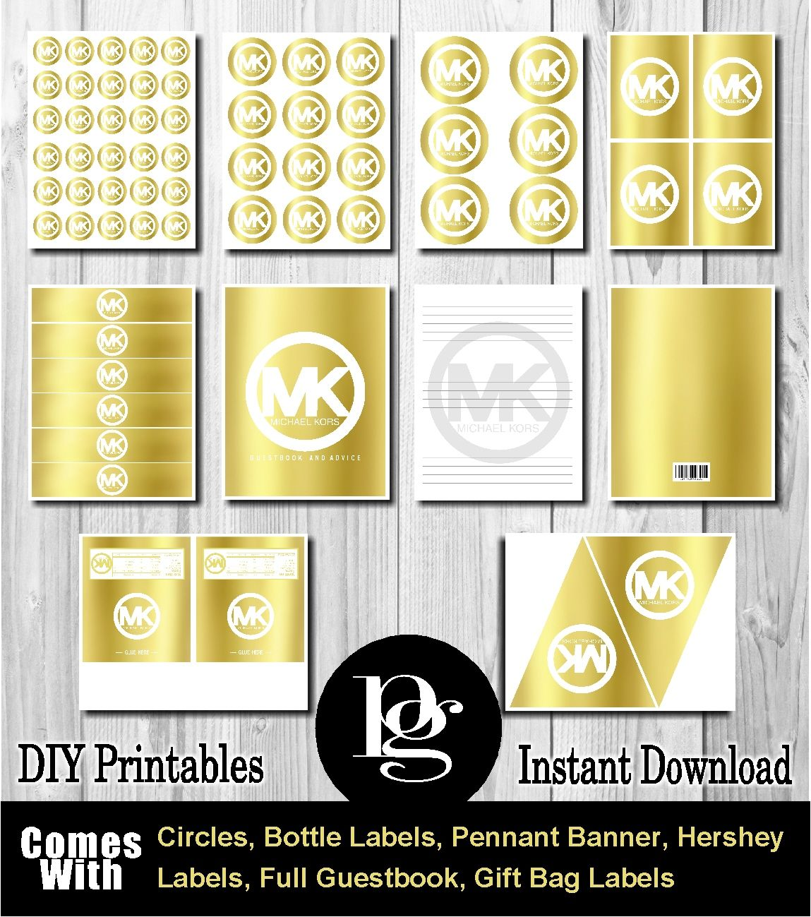 Michael Kors Printable Gold and White $14.95 matchmypartytheme.com ...