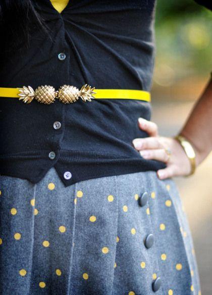pineapple belt + yellow/gray polka dot, cute!