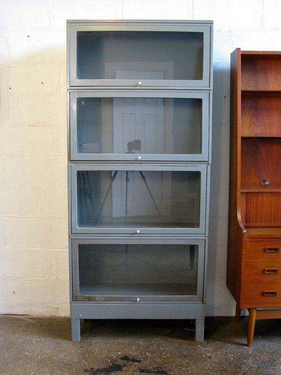 Industrial Metal Barrister Storage Bookcase Gray By Openairmodern